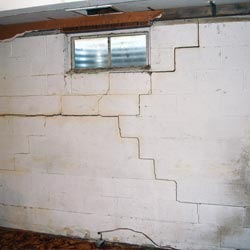 A damaged, cracked basement wall Safford